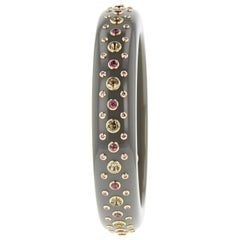 Mark Davis Vintage Bakelite Bangle with Rhodolite, Smoky Quartz, Pink Sapphire