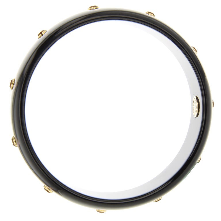 Round Cut Mark Davis Vintage Black Bakelite Bangle with Precision Inlay and Citrine in 18k For Sale