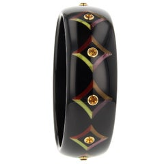 Mark Davis Vintage Black Bakelite Bangle with Precision Inlay and Citrine in 18k