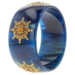 Mark Davis Vintage Blue Bakelite Bangle with Citrine