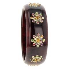 Mark Davis Vintage Brown Bakelite and Multi Gem Bangle