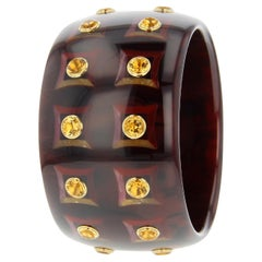 Mark Davis Vintage Brown Bakelite Bangle with Inlaid Square Pattern and Citrine
