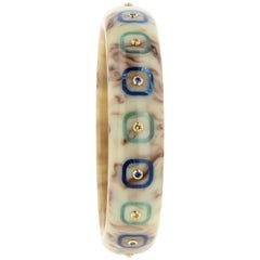 Mark Davis Vintage Brown Bakelite Bangle with Inlay and Blue and Yellow Sapphire