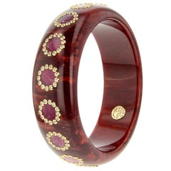 Mark Davis Vintage Burgundy and Pink Bakelite Bangle with White Sapphire in 18k
