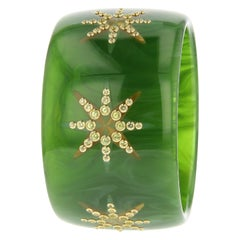 Mark Davis Vintage Green Bakelite and Peridot Bangle