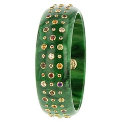 Mark Davis Vintage Green Bakelite Bangle with Various Gemstones