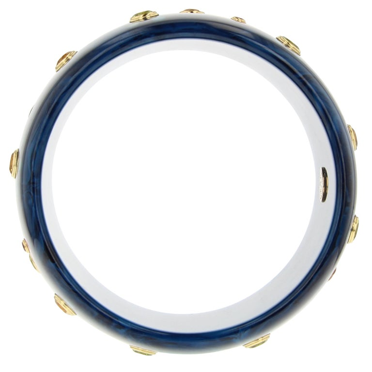 Round Cut Mark Davis Vintage Navy Bakelite Bangle with Floral Inlay and Gemstones in 18k For Sale