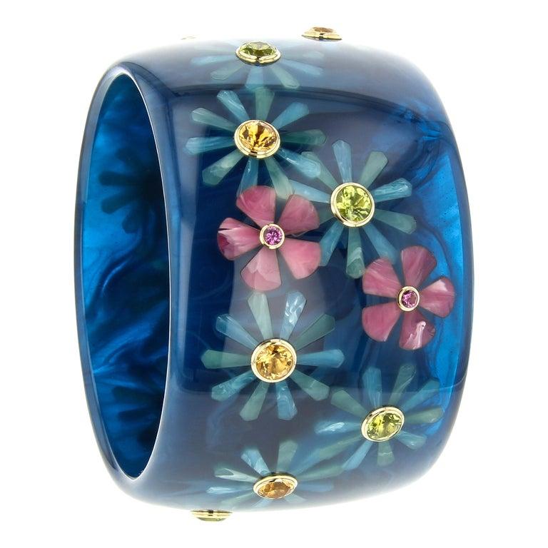 Mark Davis Vintage Navy Bakelite Bangle with Floral Inlay and Gemstones in 18k For Sale