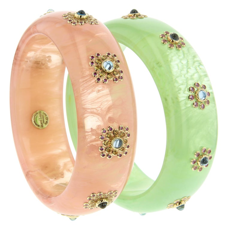 Women's Mark Davis Vintage Pink Bakelite Bangle with Blue Topaz and Pink Sapphire in 18k For Sale