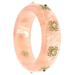 Mark Davis Vintage Pink Bakelite Bangle with Blue Topaz and Pink Sapphire in 18k