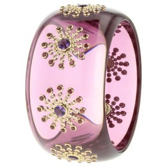 Mark Davis Vintage Prystal Bakelite Bangle with Amethyst and Pink Sapphire