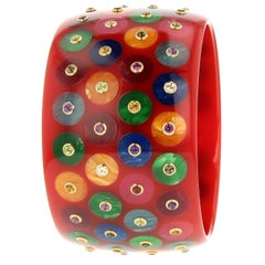Mark Davis Vintage Red Bakelite Bangle with Inlaid Polka Dots and Various Gems