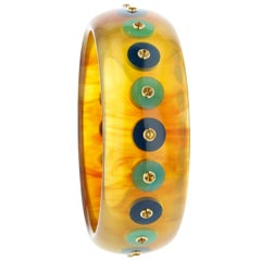 Mark Davis Vintage Tortoiseshell Bakelite Bangle with Polka Dots and Citrine