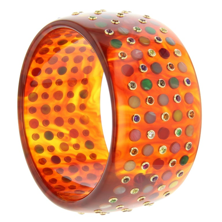 Contemporary Mark Davis Vintage Tortoiseshell Bakelite Bangle with Polka Dots and Gemstones For Sale