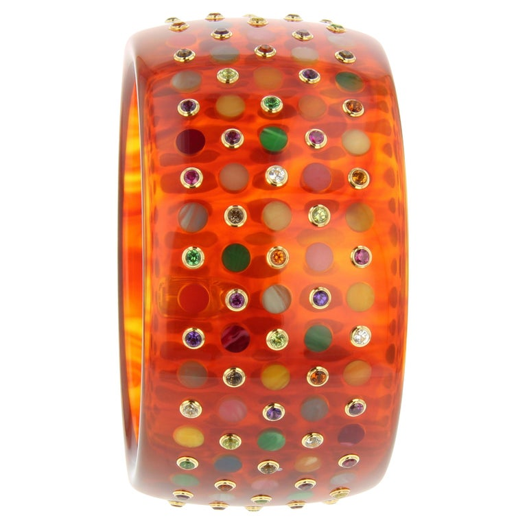 Mark Davis Vintage Tortoiseshell Bakelite Bangle with Polka Dots and Gemstones For Sale
