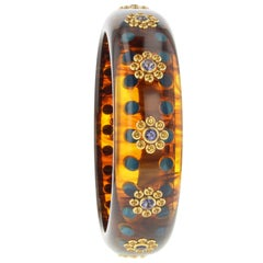 Mark Davis Vintage Tortoiseshell Bakelite Bangle with Polka Dots and Gemstones