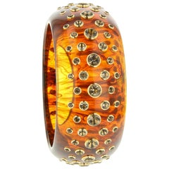 Mark Davis Vintage Tortoiseshell Bakelite Bangle with Smoky Quartz