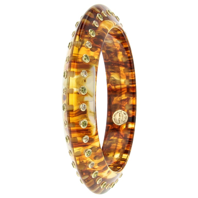 Contemporary Mark Davis Vintage Tortoiseshell Color Bakelite Bangle with Peridot and Topaz