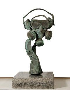 Nonsense (Gas Mask), Unique Bronze Sculpture