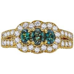 Mark Henry 0.61 Carat Natural Brazilian Alexandrite and Diamond Ring, 18 Karat