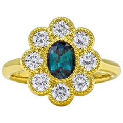 Mark Henry 0.79 Carat Natural Brazilian Alexandrite and Diamond Ring, 18 Karat