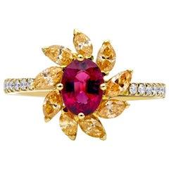 Mark Henry 0.80 Carat Rubellite, Yellow Diamond and Diamond Ring, 18 Karat
