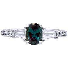 Mark Henry 0.97 Carat Natural Brazilian Alexandrite and Diamond Ring, 18 Karat