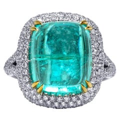 Mark Henry 14.00 Carat Cabochon Paraiba Tourmaline and Diamond Ring, 18 Karat