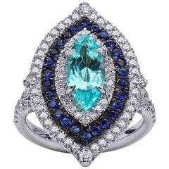 Mark Henry 1.52 Carat Paraiba Tourmaline, Sapphire and Diamond Ring, 18 Karat