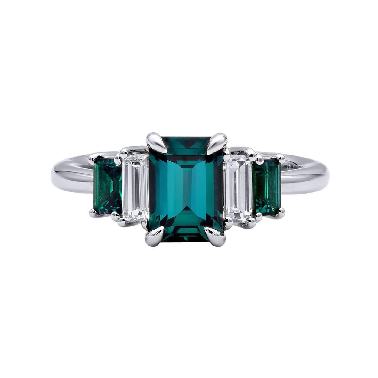 Mark Henry 1.74 Carat Natural Brazilian Alexandrite and Diamond Ring, 18 Karat