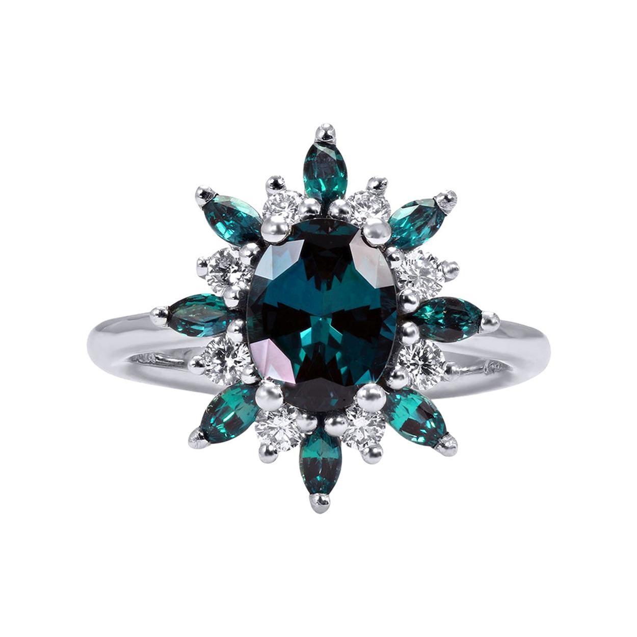 Mark Henry 1.77 Carat Natural Brazilian Alexandrite and Diamond Ring, 18 Karat