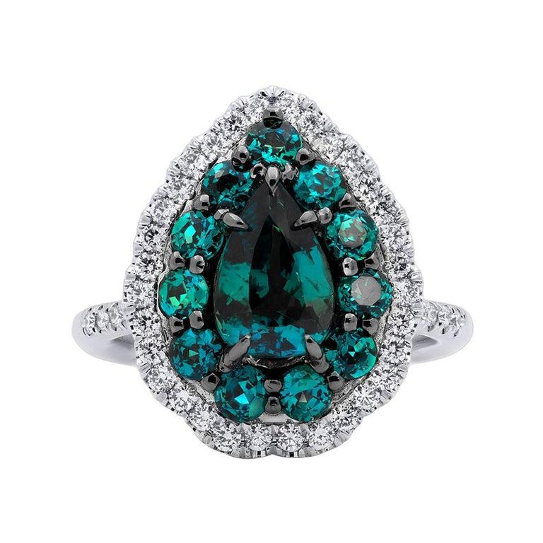 Mark Henry 1.78 Carat Natural Brazilian Alexandrite and Diamond Ring, 18 Karat For Sale