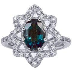 Mark Henry 2.04 Carat Natural Brazilian Alexandrite and Diamond Ring, 18 Karat