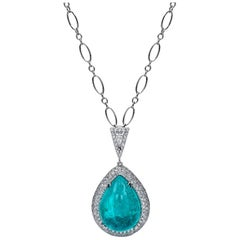 Mark Henry 21.74 Carat Cabochon Paraiba Tourmaline and Diamond Necklace 18 Karat