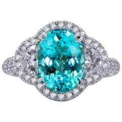 Mark Henry 3.77 Carat Paraiba Tourmaline and Diamond Ring, 18 Karat