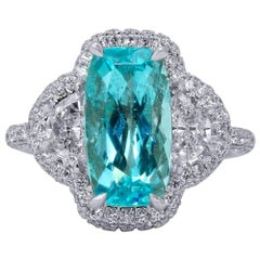 Mark Henry 3.94 Carat Paraiba Tourmaline and Diamond Ring, 18 Karat
