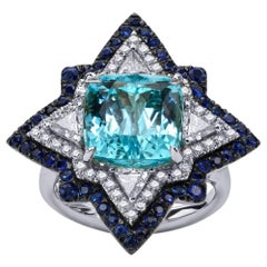 Mark Henry 5.82 Carat Paraiba Tourmaline, Sapphire and Diamond Ring, 18 Karat