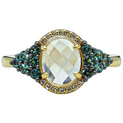 Mark Henry Natural Brazilian Alexandrite, Moonstone and Diamond Ring, 18 Karat