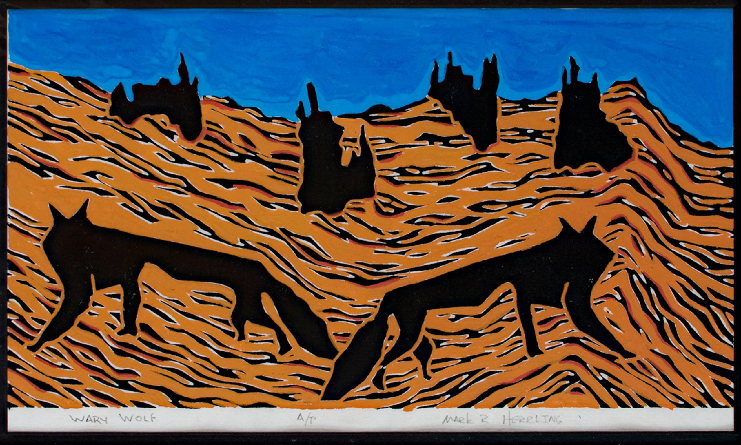 """""""Wary Warf,"""" Original Linocut Landscape with Animals AP signed by Mark Herrling"""