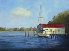 Boathouse on the Wye River, Painting, Oil on Canvas