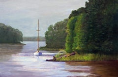 Intriguing Anchorage, Painting, Oil on Canvas