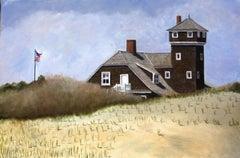 Life Saving Station on Sandy Hook, Painting, Oil on Canvas