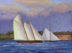 Match Race, Schooner Yacht America & Marie, 1851, Painting, Oil on Canvas