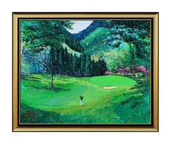 MARK KING Original Acrylic PAINTING ON CANVAS Signed GOLF Sports Artwork Oil SBO