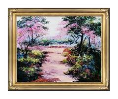 Mark King Original Oil Painting on Canvas Hand Signed Flower Landscape Artwork