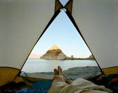 View from the tent at Pyramid Lake, Nevada
