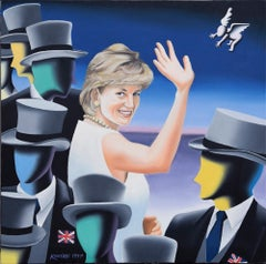 Fare Thee Well And If Forever - Original Oil on Canvas by M. Kostabi - 1997