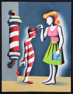 Gnorance s-the Rot of all Evil - Original Oil on Canvas by M. Kostabi - 1991
