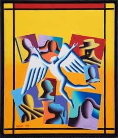 Leaming Annex - Original Oil on Canvas by M. Kostabi - 1995