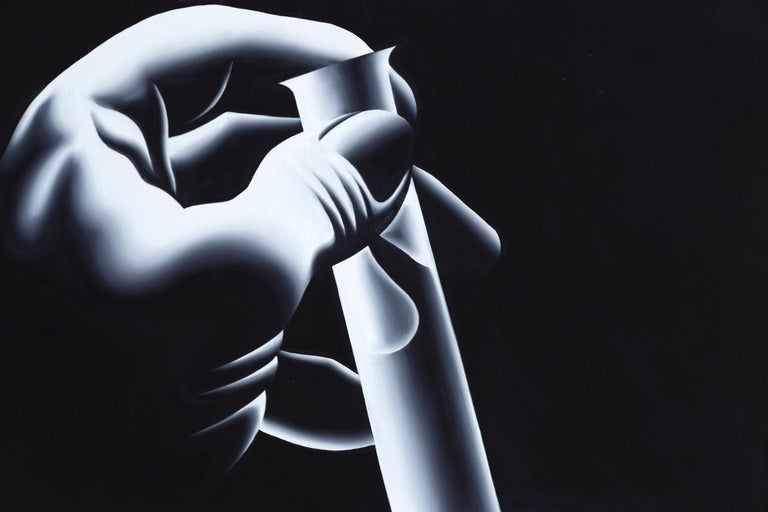 The Cure - Black Figurative Painting by Mark Kostabi